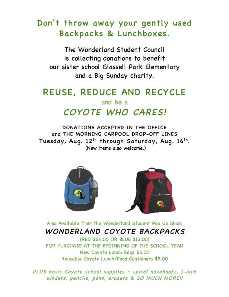 Backpack Recycling-Don'tThrowAway 2014