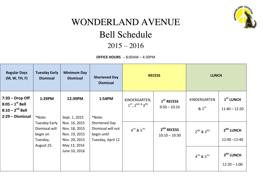 Bell Schedule Revised 2015-2016