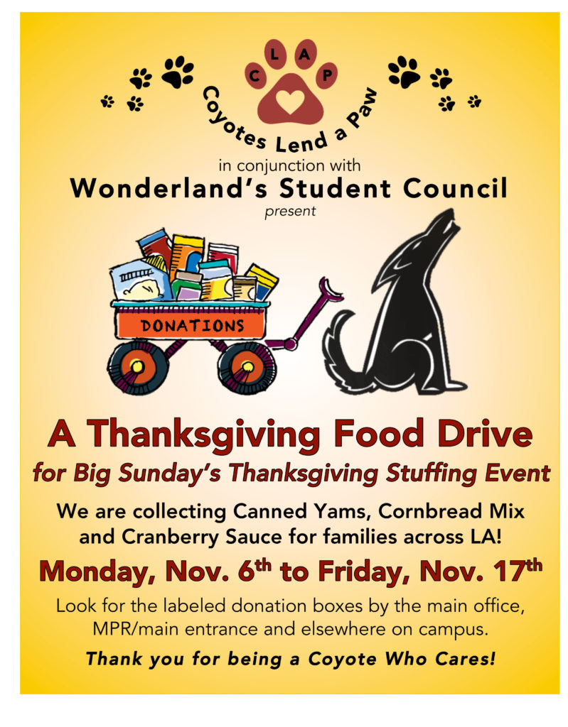 CLAP-STUCO Thanksgiving Drive Flier
