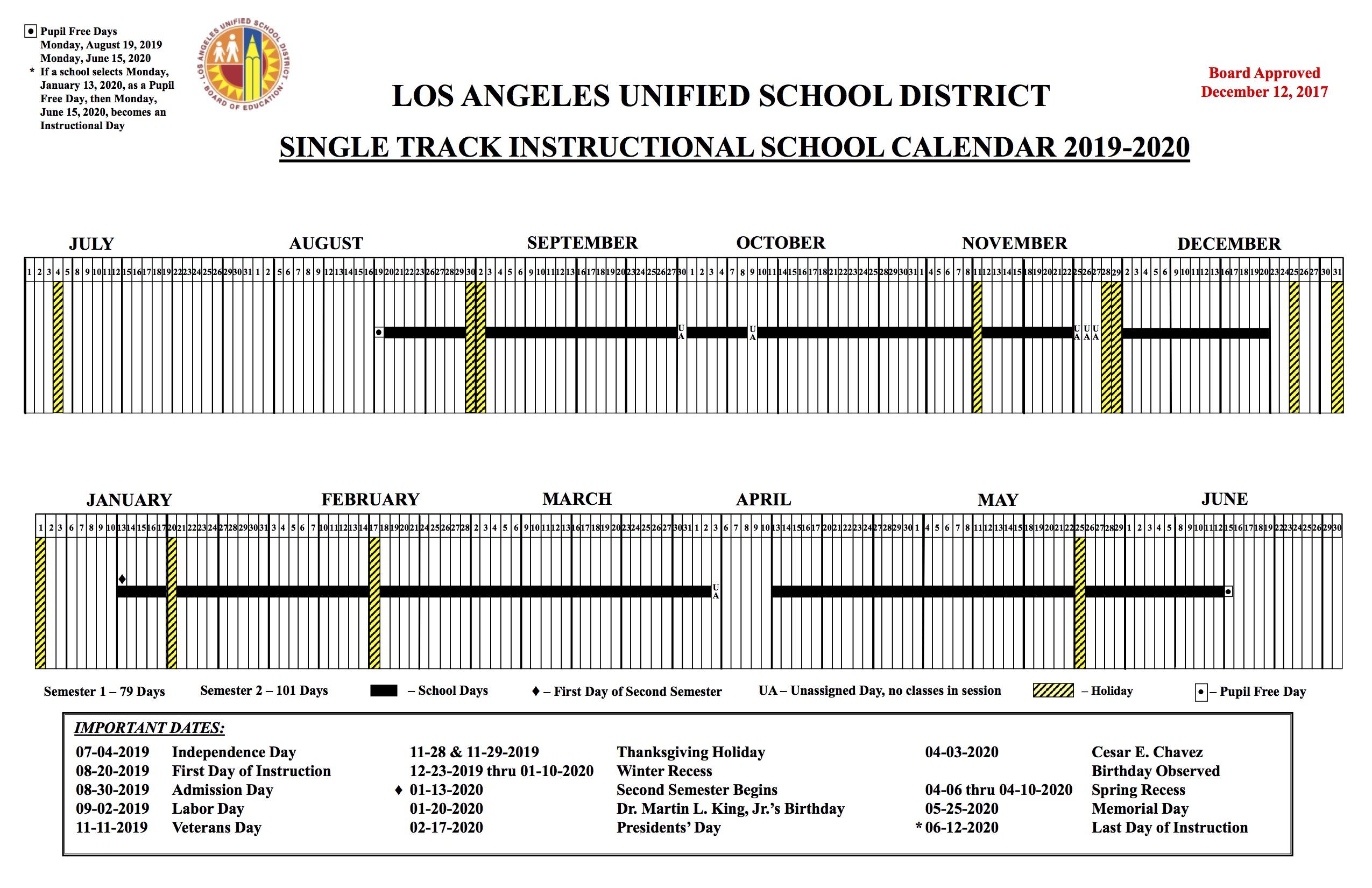 Lausd School Calendar 2020 LAUSD Calendar 2019 20 @ Wonderland School